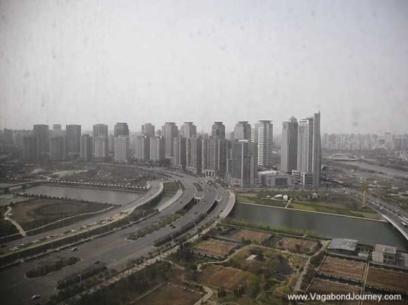 La vue du quartier des affaires de Zhengdong depuis la tour Novotel